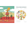 flat welcome to mexico concept vector image vector image