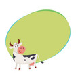 funny black white spotted cow standing and looking vector image vector image