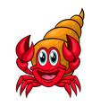 Funny cartoon hermit crab vector image