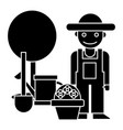 gardener - tree - shovel - watering can - bush vector image vector image