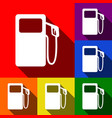gas pump sign set of icons with flat vector image