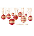 geometric red and gold xmas baubles vector image