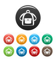girl backpack icons set color vector image