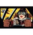 Girl retro military pilot vector image vector image