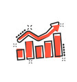 growing bar graph icon in comic style increase vector image vector image