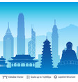 hong kong famous city scape vector image vector image