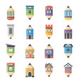 house architecture flat icons vector image vector image