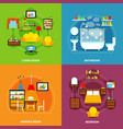 interior concept icons set vector image vector image