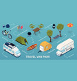 isometric trailer park infographic vector image vector image