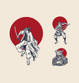 japanese samurai and red sun warriors vector image vector image