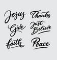 jesus and peace handwriting calligraphy vector image