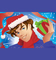 Man Holding a Christmas Gift vector image vector image