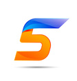 Number five 5 logo orange and blue color with fast vector image vector image