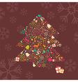 Ornamental Christmas tree with reindeer vector image vector image