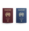 passport with map asia realistic vector image