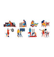 people at home cartoon characters relaxing and vector image