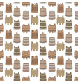 seamless pattern with wooden tub on white vector image vector image