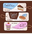 set decorative banners sweet cake sketch backg vector image vector image