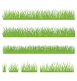 Set of green grass isolated on white background vector image