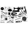 set tools for sewing and cutting collection of vector image