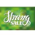 Spring saleLettering on Green blurred background vector image vector image