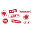 stop virus infection text stamp template set vector image