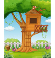 Treehouse in the garden vector image vector image