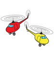 two cartoon helicopters vector image vector image