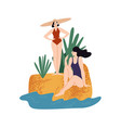 two female relaxing on sand near sea water vector image vector image