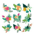 various hand drawn tropical flower foliage vector image