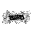 Wedding label design with inscription and doodle vector image