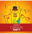 welcome carnival party mask gentleman glasses hat vector image
