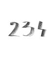 with hand drawn chalk numbers vector image