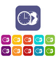 world planet with watch icons set flat vector image vector image