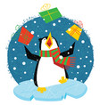 xmas penguin in a bright scarf standing on an ice vector image vector image