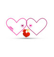 outline hearts with birds and red heart vector image