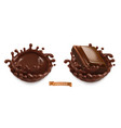 a piece chocolate and a chocolate splash 3d vector image vector image