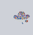 big crowd businesspeople in cloud bubble shape vector image