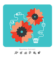 Business Concept Icons with Gear vector image