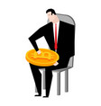 businessman bunch of bitcoins lot of crypto vector image vector image