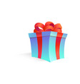 cartoon open present gift box ribbon bow vector image vector image