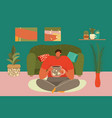 composition relax home cartoon man room sitting vector image