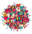 doodles valentines day vector image