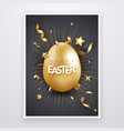 easter background with realistic golden egg text vector image vector image