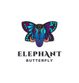 ethnic elephant with butterfly wing logo template vector image