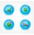 Financial signs on glossy icons vector image vector image