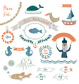 Fish restaurant invitation or menu elements vector image vector image