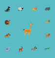 flat icons kitty hound moose and other vector image vector image