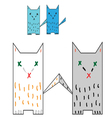 four colorful cat tails are touching vector image