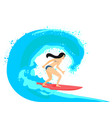 ilustration of beautiful brunette surfer vector image vector image